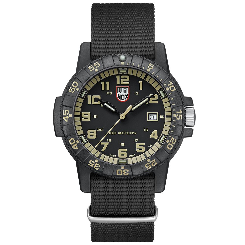 LUMINOX 雷明時SEA TURTLE 0320海龜系列腕錶-黑x卡其時標/44mm