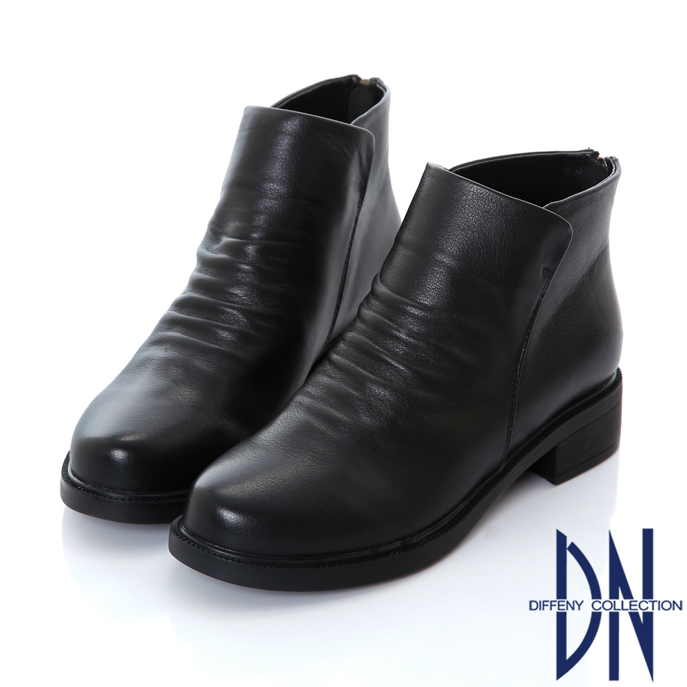 DN 簡約時尚 質感真皮抓皺造型短靴-黑