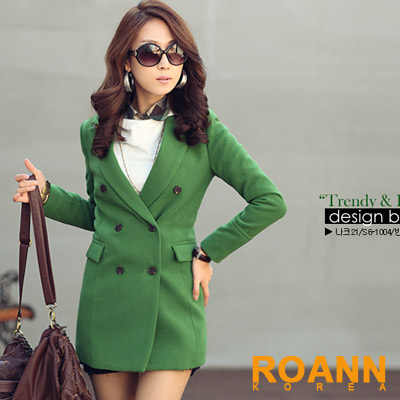 【ROANN Korea】飽和亮系羊毛長版西裝外套 (共五色)