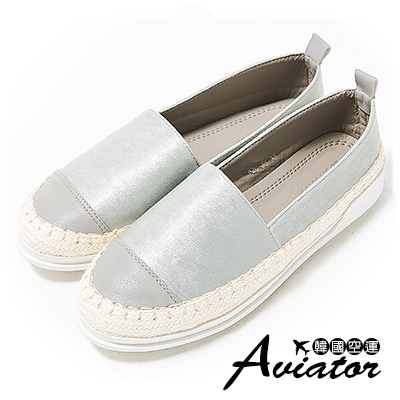 Aviator*韓國空運。皮革拼接編織草編顯白休閒懶人鞋-灰