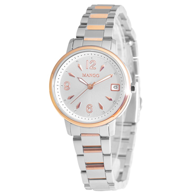 MANGO 雅緻名伶不鏽鋼時尚腕錶-銀白/30mm