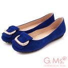 G.Ms.  羊麂皮金屬繩紋皮帶釦環娃娃鞋-知性藍