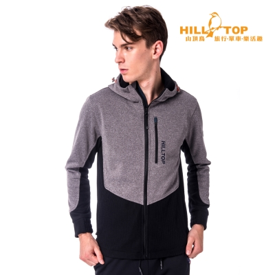 【hilltop山頂鳥】男款防風透氣刷毛外套H22MV8麻花灰/黑