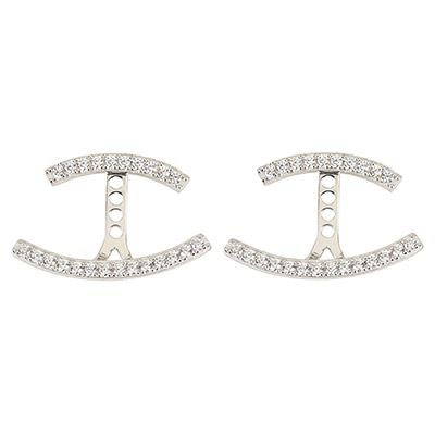 apm MONACO PROMESSE系列晶鑽鑲飾雙線條設計純銀耳環(銀)