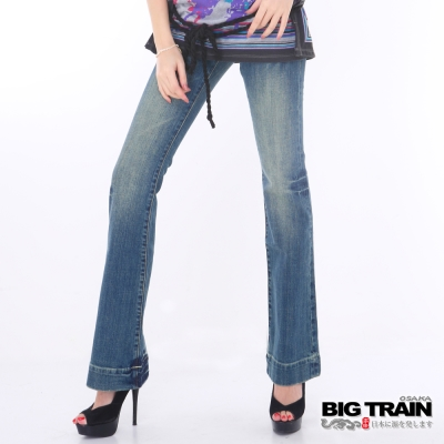 BIG TRAIN-女款 伸縮超低腰龐克喇叭褲-中藍