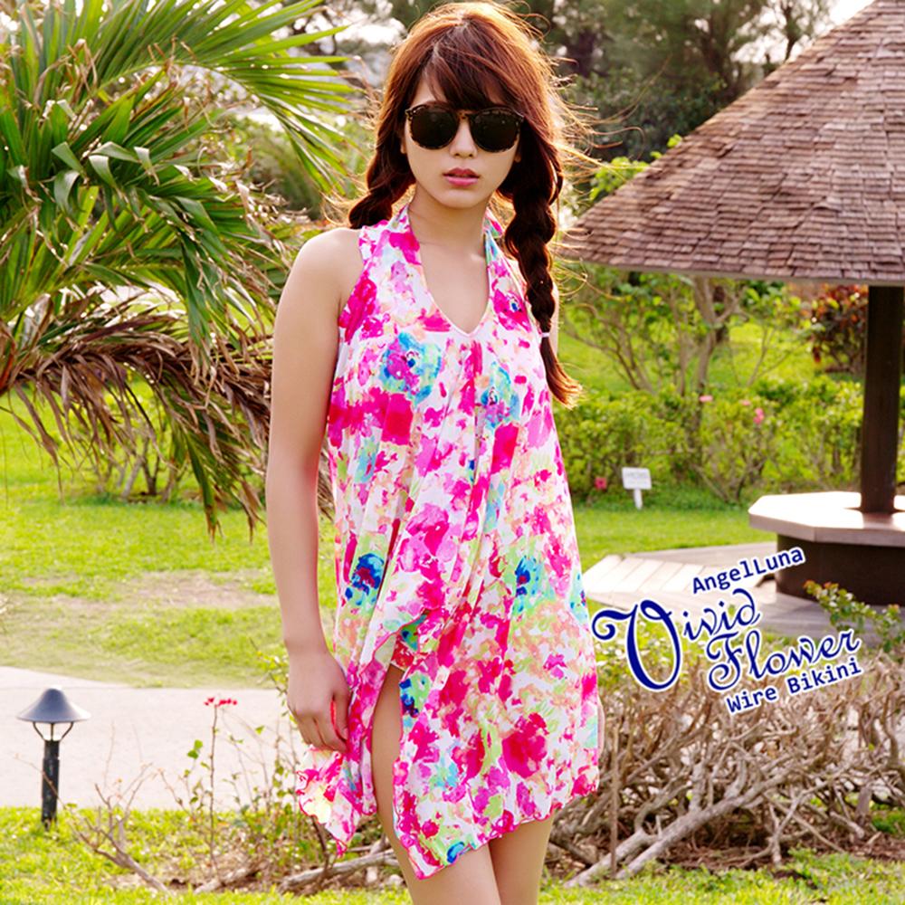 【AngelLuna日本泳裝】渲染印花三件式比基尼泳衣-粉色