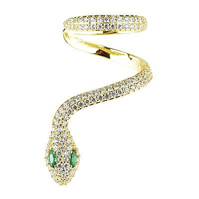 apm MONACO 晶鑽鑲飾蛇型金黃色單只純銀耳骨夾耳環(金)