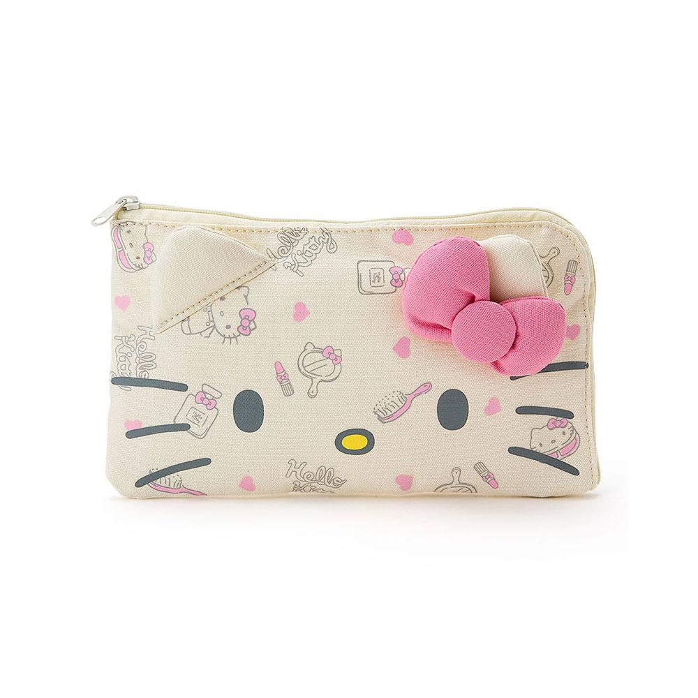 Sanrio HELLO KITTY大臉帆布材質口罩收納包(化妝小物)