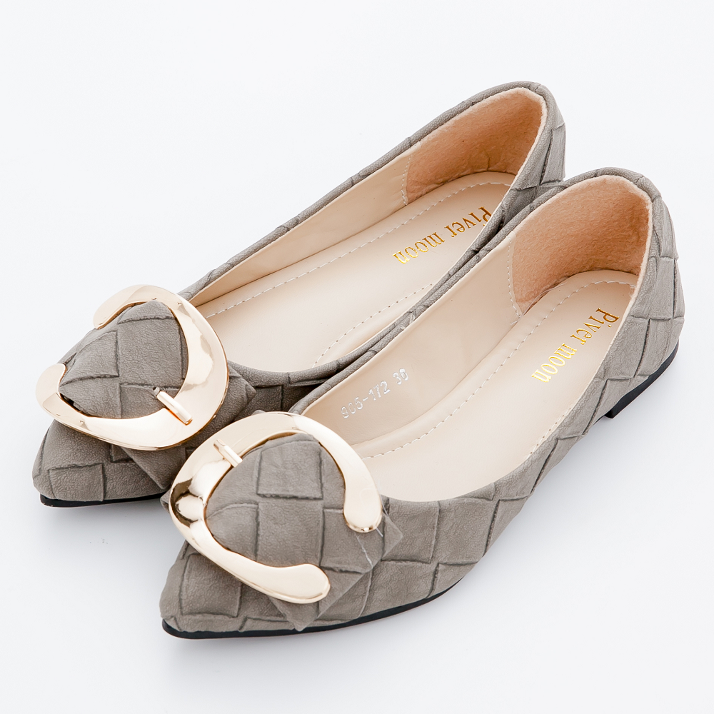 River&Moon尖頭鞋-加大尺碼優雅氣質編織金釦尖頭包鞋-灰