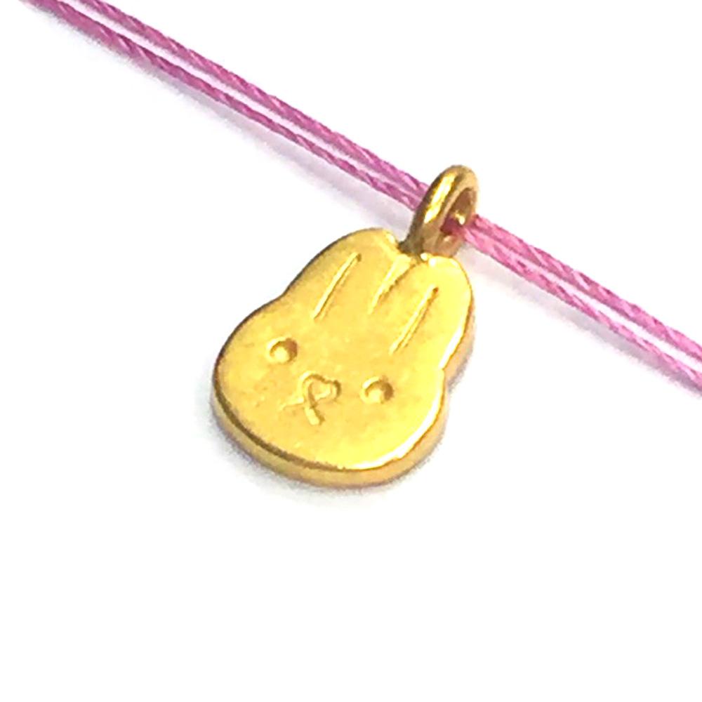 Dogeared 小兔項鍊 金墜粉紅色棉繩 cute bunny 獨一無二的你