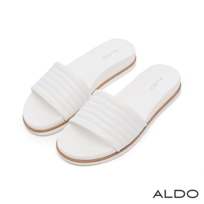 ALDO 原色幾何車線雙色夾心懶人鞋~氣質白色