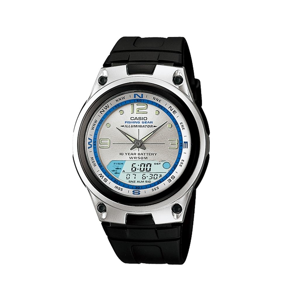 CASIO 多功能狩獵雙顯膠帶錶(AW-82-7A)-銀白色面版/40mm