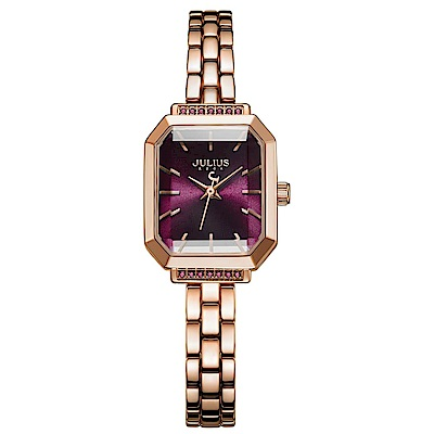 JULIUS聚利時 巴黎戀人復古方形鍊帶腕錶-玫瑰金X魅惑紫/20X17mm
