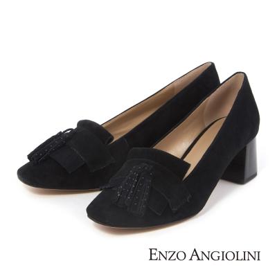 ENZO ANGIOLINI--波希米亞風流蘇粗跟高跟鞋-優雅黑