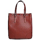 BOTTEGA VENETA 編織小羊皮直式肩背包(紅褐色)