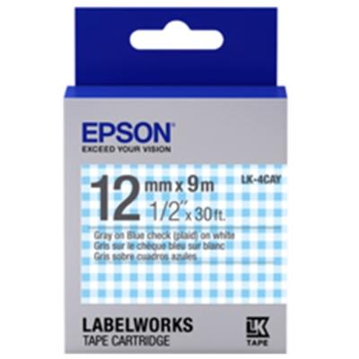 EPSON C53S654446 LK-4CAY 藍白格紋底灰字標籤帶(寬12mm)