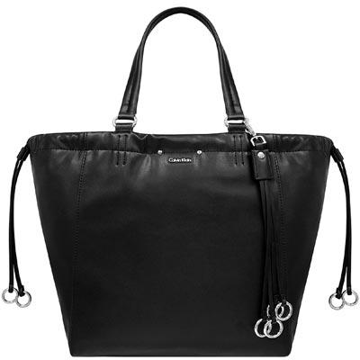 Calvin Klein 黑色皮革托特包-大型