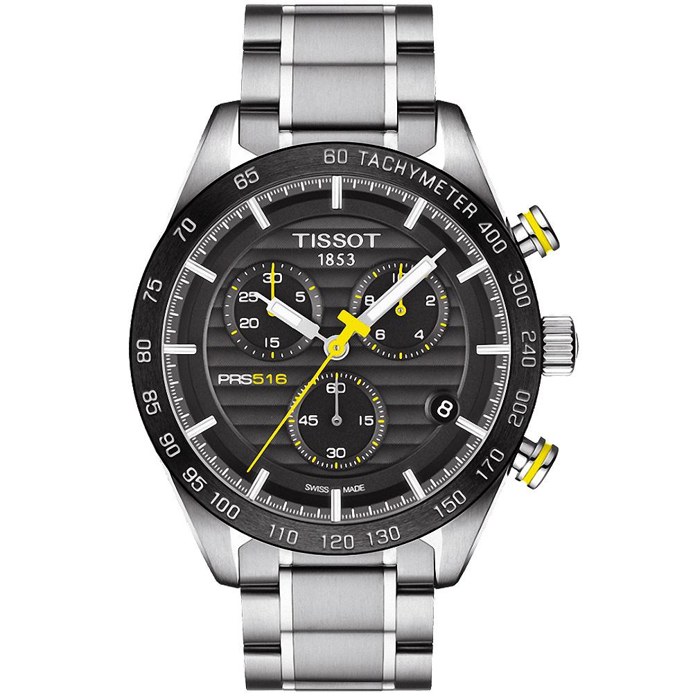 TISSOT PRS516三眼計時石英腕錶-黑42mm