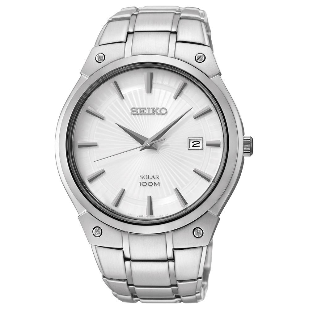 SEIKO 紳士風時尚太陽能簡約腕錶(SNE339P1)-銀/40mm