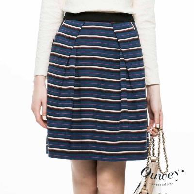 OUWEY歐薇-撞色條紋立裁褶修身裙