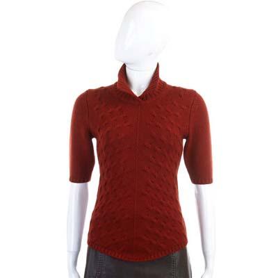 CRUCIANI 紅色針織羊毛短袖上衣(100%LANA)