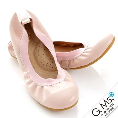 【G.Ms.】旅行女孩II‧素面鬆緊口全真皮可攜式軟Q娃娃鞋(附專屬鞋袋) ‧粉紅