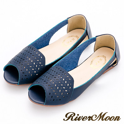 River&Moon涼鞋-韓系幾何簍空洞洞露趾平底涼鞋-藍系