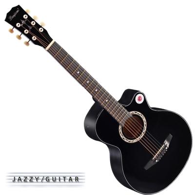 Lanjian系列 38吋,缺角民謠吉他,木吉他,琴袋+背帶+彈片+全配備 (爵士黑色)
