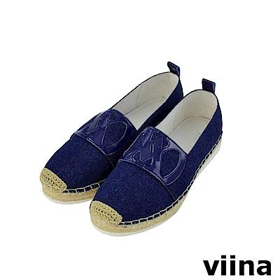viina-休閒系列-丹寧壓紋logo草編鞋-深藍