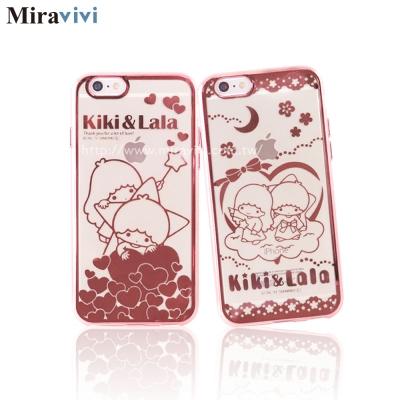 三麗鷗iPhone6/6s Plus時尚質感電鍍雷雕保護套-雙子星
