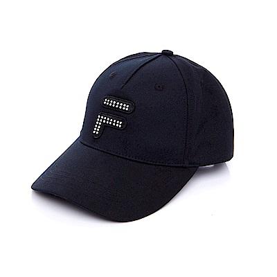 FILA 時尚水鑽LOGO 帽-黑 HTS-1105-BK
