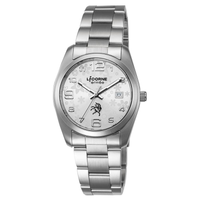 LICORNE力抗錶 簡約時尚設計都市手錶 白x銀/36mm