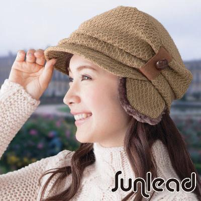 Sunlead 防寒護耳款。小顏美型保暖兩用式抓皺垂墜感軟帽 (駝色)