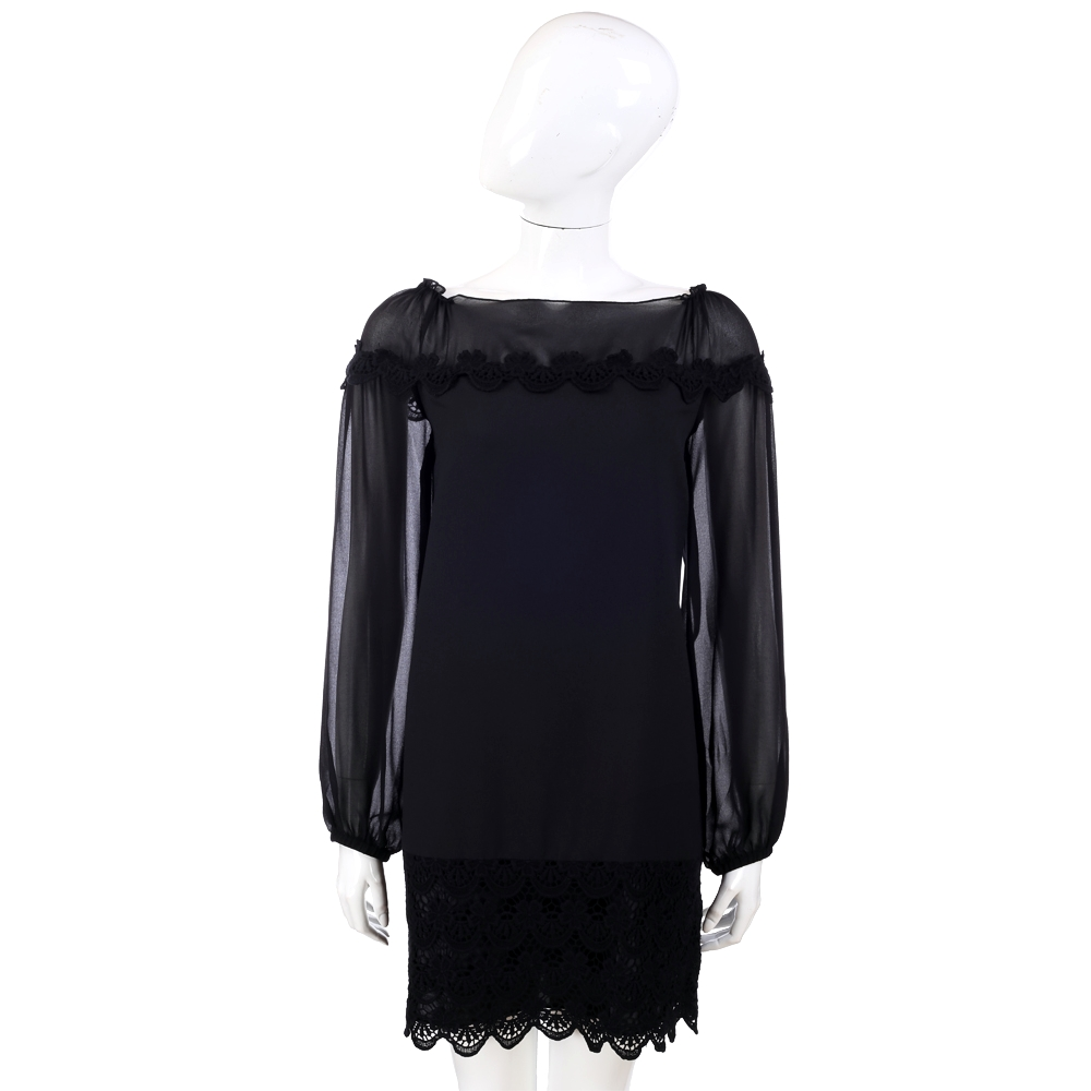 PHILOSOPHY 黑色織花點綴長袖洋裝