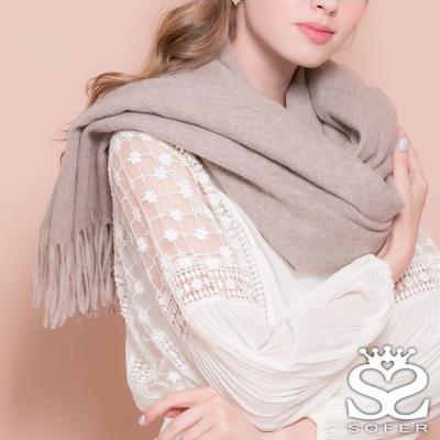 SOFER-簡約素色100-純羊毛保暖披肩-圍巾-輕淺咖