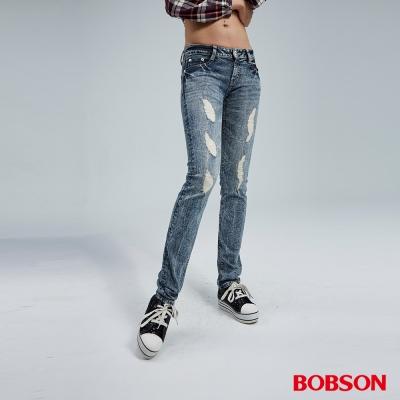 BOBSON 女款小直筒彈性破褲