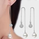 梨花HaNA 925銀珍珠水鑽球球映照閃耀長耳線耳環