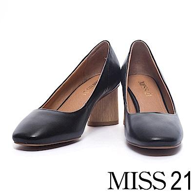 跟鞋 MISS 21 經典復古素面羊皮方頭粗跟鞋-黑