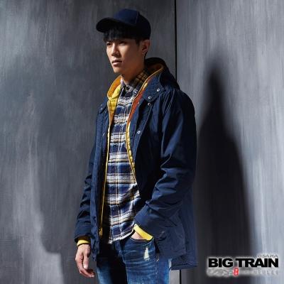 BIG TRAIN 可拆脫內件防風長外套-男-丈青