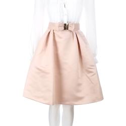 ELISABETTA FRANCHI 粉膚色蝴蝶結腰帶飾及膝裙