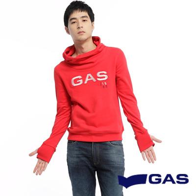 GAS-簡約低調-LOGO字樣刺繡套頭連帽長袖厚T-紅-男款