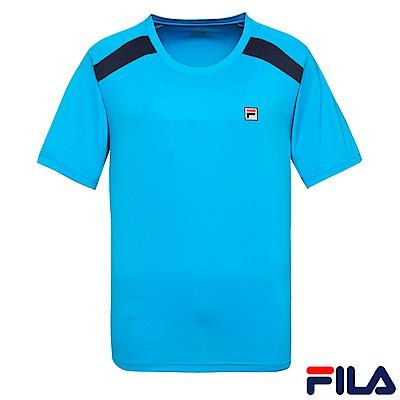 FILA 男抗UV吸濕排汗T恤-藍 1TES-1001-BU