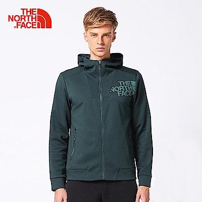 The North Face北面男款墨綠色修身防潑水運動外套