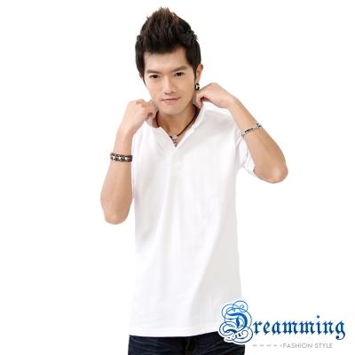 Dreamming 美式素面網眼短袖POLO衫-白色/桃紅色(二色)