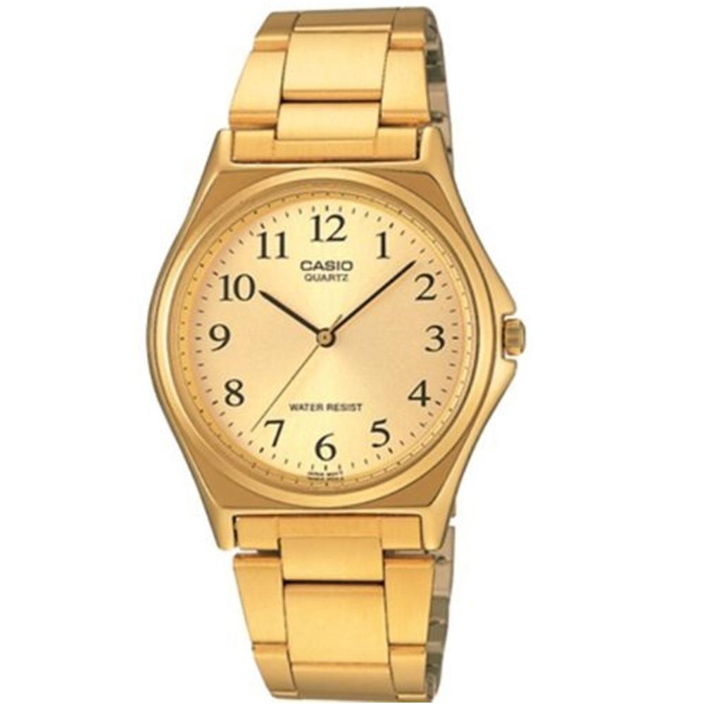 CASIO 經典簡約時尚男士腕錶(MTP-1130N-9B)-金色X黃色數字面/36mm