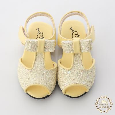 天使童鞋-C232 亮片蝴蝶結魚口涼鞋(小童)-甜心黃