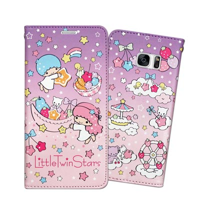 三麗鷗 雙子星 Samsung Galaxy S7 edge 甜心磁扣皮套(星星...