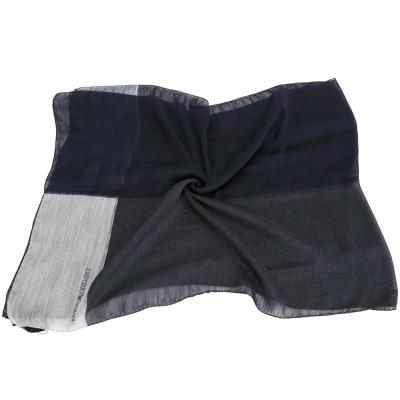 EMPORIO ARMANI 色塊拼接羊毛圍巾(黑x藍)