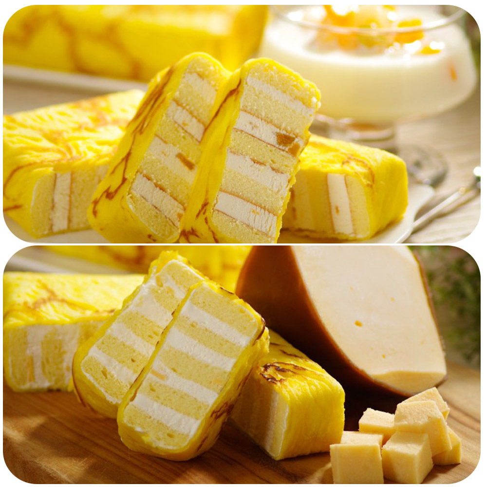 艾葛蛋捲狂人 金磚蛋糕(水果優格x1片+鮮乳起司x1片)