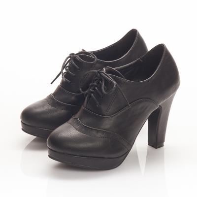 JMS-經典學院風綁帶牛津高跟踝靴-黑色